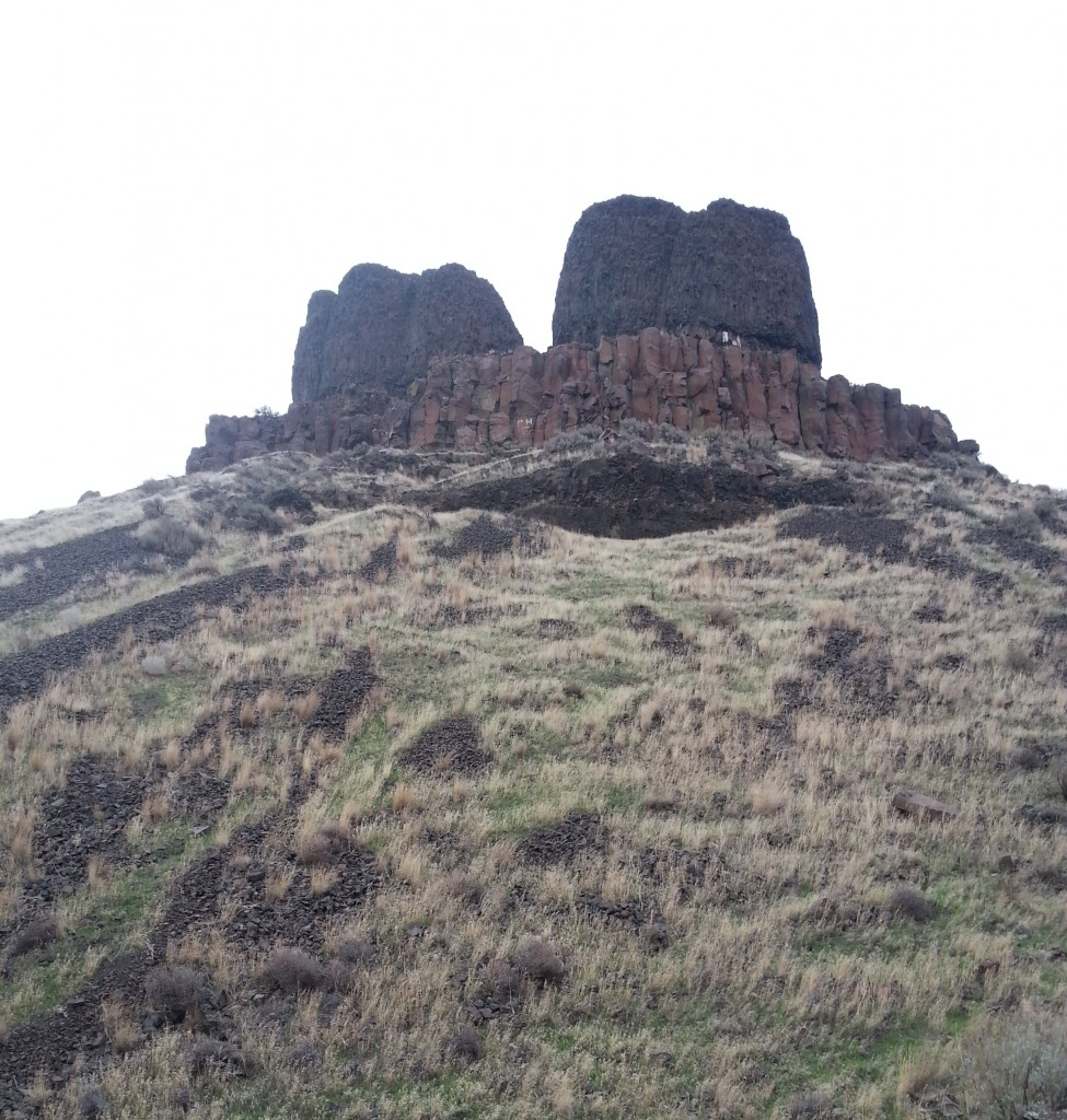 The Twin Sisters rock formation in Walla Walla County, overlooking the Columbia River.